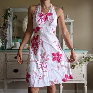 Ann Taylor Halter Floral Summer Dress SZ 6P